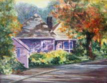 """Afternoon Shadows"" an acrylic painting of a cottage by Amy Glover Martin"