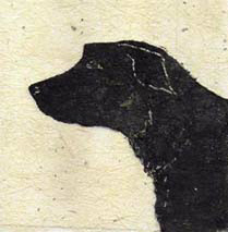 """Brett"", a monotype of a handsome black dog by printmaker Susan Cartwright"