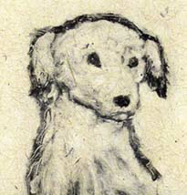 """Chedder"", a monotype of a sweet-faced small dog by Susan Cartwright"