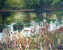 """Dahlgren Pond"", a pastel painting of a duck pond by Amy Glover Martin"
