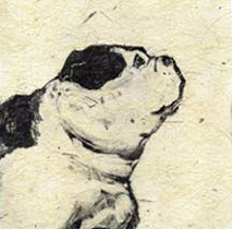 """Dollie"", monotype of a lovable bulldog by printmaker Susan Cartwright"