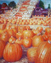 """Harvest Time"", a pastel painting of autumn pumpkins by Amy Glover Martin"