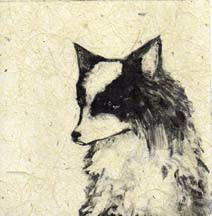 """Mikki"", a monotype of a sweet-faced little dog by Susan Cartwright, printmaker"