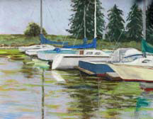 """Quiet Harbour"", a pastel painting of small boats in harbour by Amy Glover Martin"