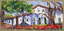 """San Luis Obispo Mission"", a watercolor painting of a mission by Amy Glover Martin"