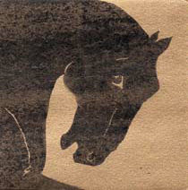 """The Black"", a monotype of an elegant black horse head by Susan Cartwright, printmaker"