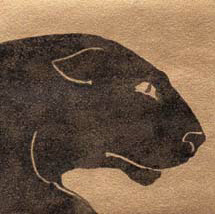 """The Panther"", a monotype of a black panther by printmaker Susan Cartwright"