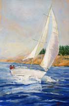 """Thirty Knots"", a pastel painting of a sailboat by Amy Glover Martin"
