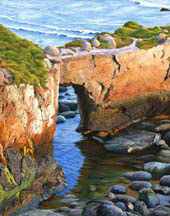 """Low Tide Under the Arch"", an oil painting by Jessica Maring"