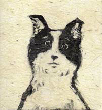 """Kip"", a monotype print of a lovable mutt by Susan Cartwright"